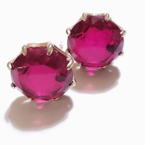VINTAGE CLIP ON EARRINGS RUBY COLORED GOLDTONE